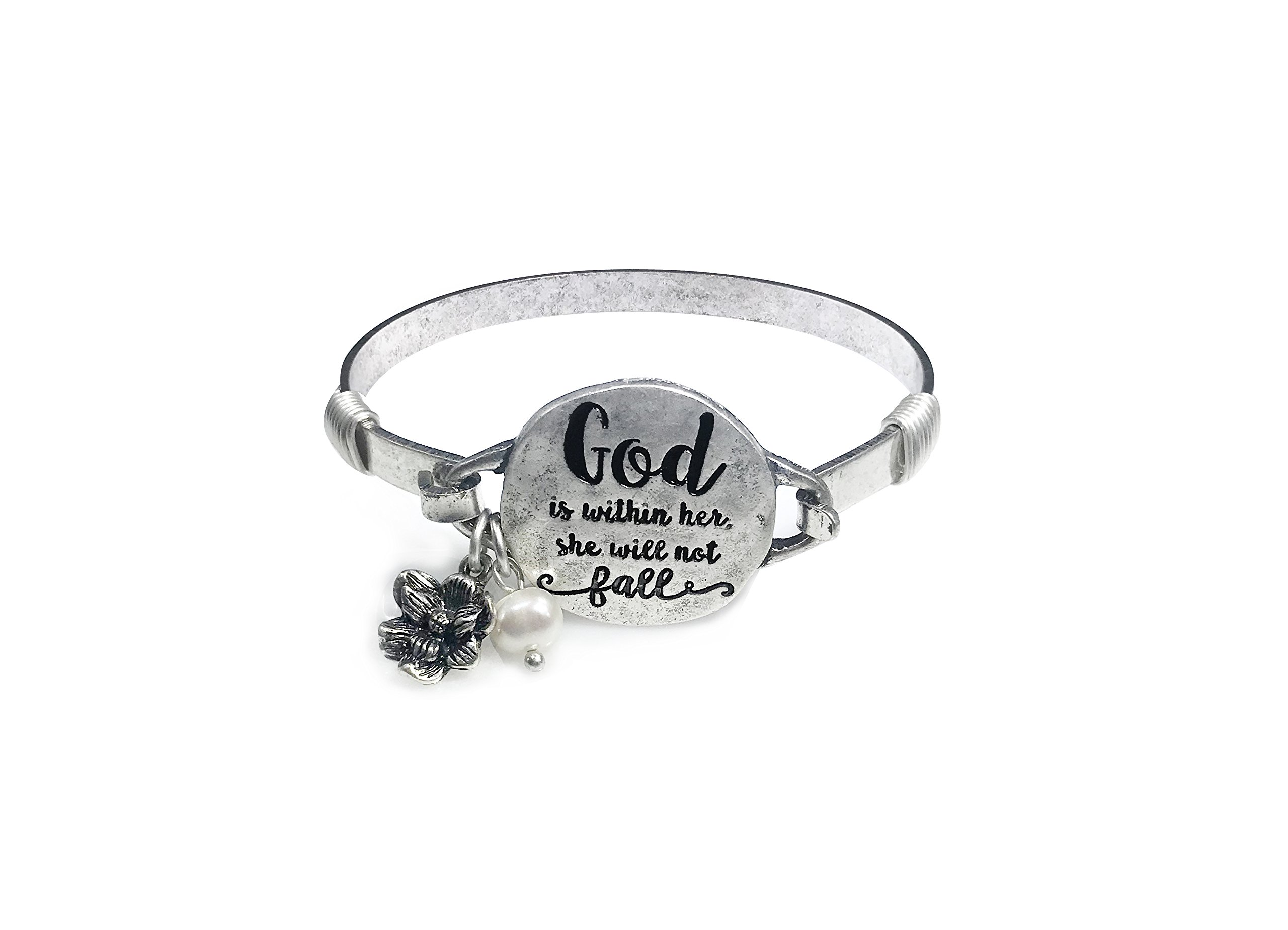 """Wonderent """"God is within her. She will not fall"""" Handmade Beautiful Christian Bangle Bracelet with Wire Design and Flower Charm and Bead"""