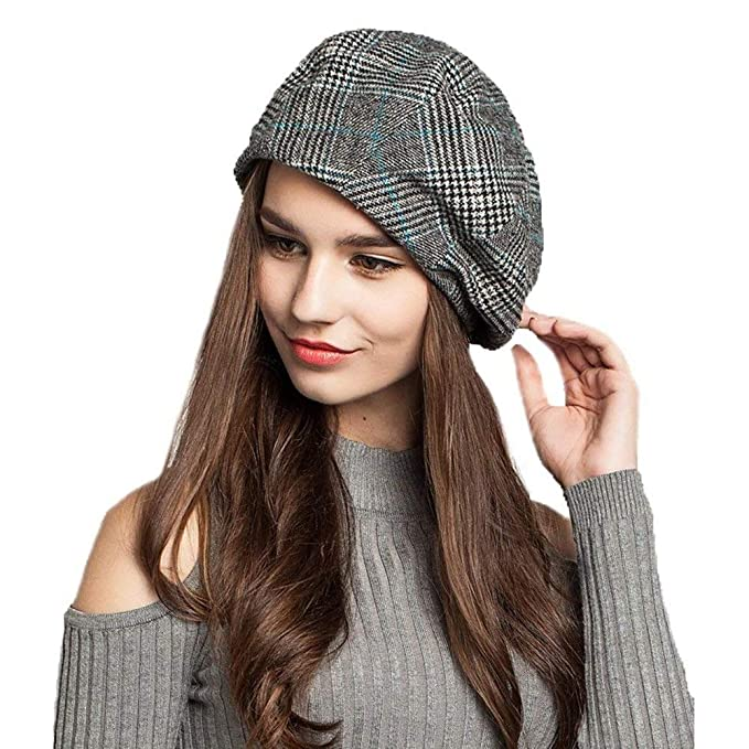 c92dd4d5bc4 Image Unavailable. Image not available for. Color  EINSKEY Lady French  Beret Wool Beret Cap Chic Winter Newsboy Hat Grid Striped Slouchy Beanie for