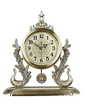 ZYear Relojes Antiguos para Sala de Estar Decoración Doble Peacock Europeo Gran Movimiento de Cuarzo silencioso Reloj de Oficina: Amazon.es: Hogar