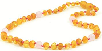 Amazon Com Raw Amber Teething Necklace With Quartz Beads