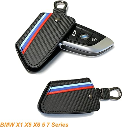 M-Colored Stripe Black Carbon Fiber Pattern Leather Key Holder with Keychain for 2014-up X5 2015-up X6 Remote Fob