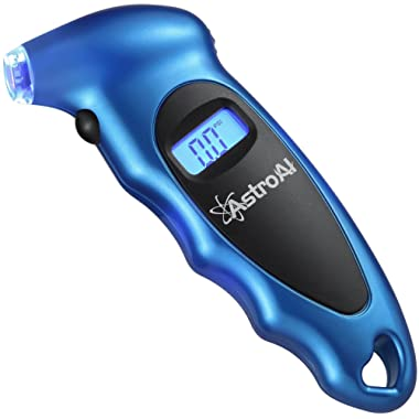 AstroAI Digital Tire Pressure Gauge 150 PSI 4 Settings for Car Truck Bicycle with Backlit LCD and Non-Slip Grip, Blue