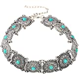 Chooz Designer Studio Summer Collection Designer Boho Turquoise Choker Necklace Necklace Necklace Silver Necklace Hot Vintage Jewelry Metal Choker
