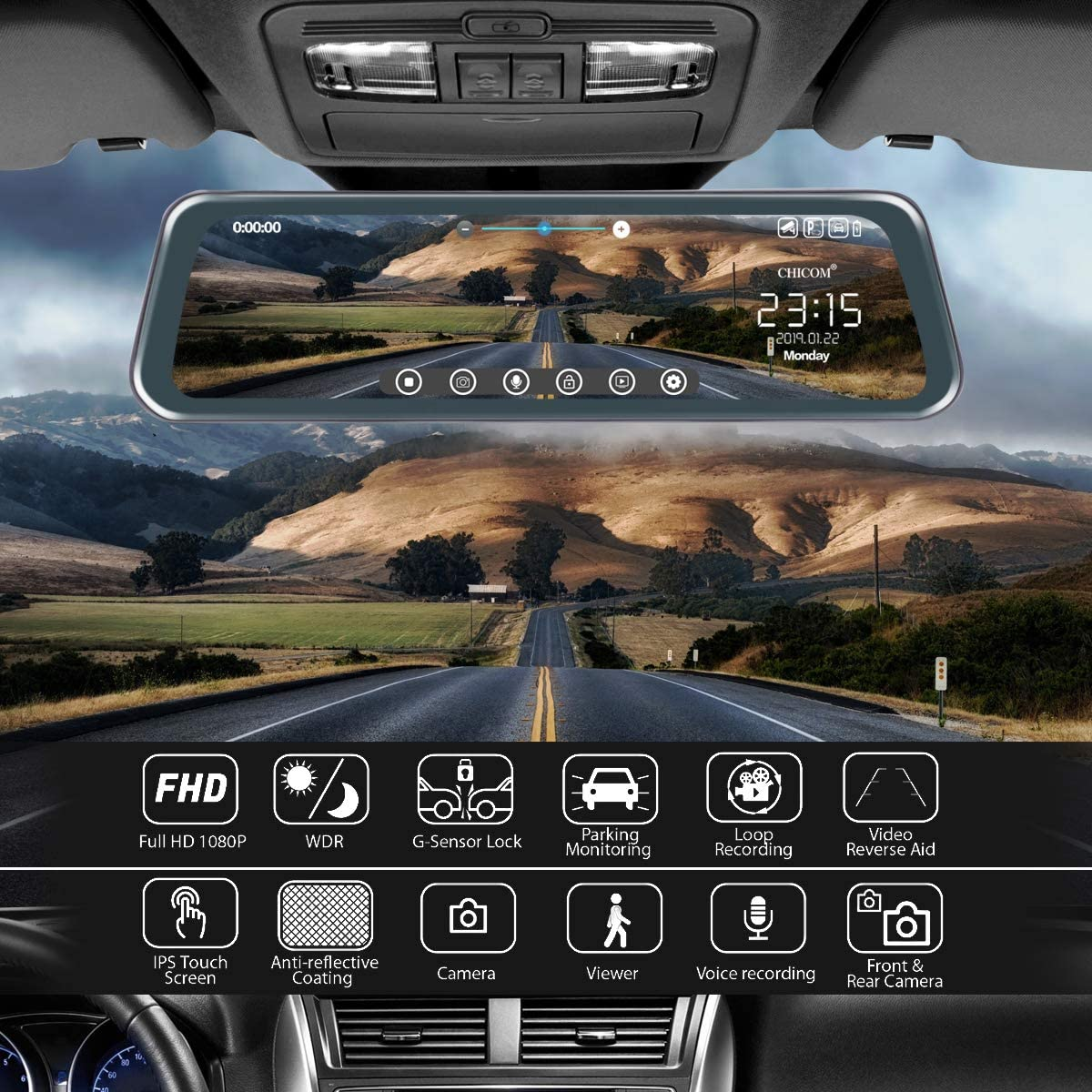 CHICOM Mirror Dash Cam,Backup Camera 10 Car Dash Camera Touch Screen 1080P Rearview Front and Rear Dual Lens with Waterproof Reversing Camera,Enhanced Night Vision,HDR