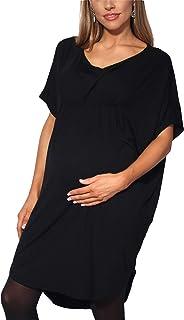 KRISP Premaman Donna Top Vestito Elastico Vita Manica Corta vestibilità Lunga T Shirt Tunica