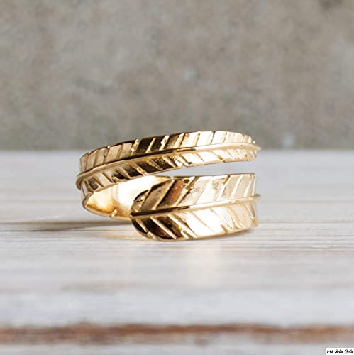 b9b231c2a167f Adjustable Feather Ring - 14K Gold Plated over 925 Sterling Silver  Customizable Open Ended Spiral Ring, Dainty Flexible Feather Ring, Wrap and  Fit to ...