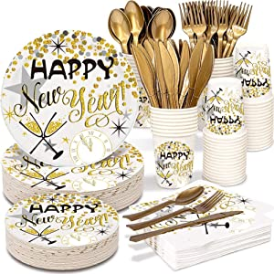 2021 Happy New Year Party Supplies Tableware Set - 150 PCS Disposable Dinnerware Set - Gold Paper Plates Napkins Cups, Gold Plastic Forks Knives Spoons for New Years Eve Party Birthday Christmas
