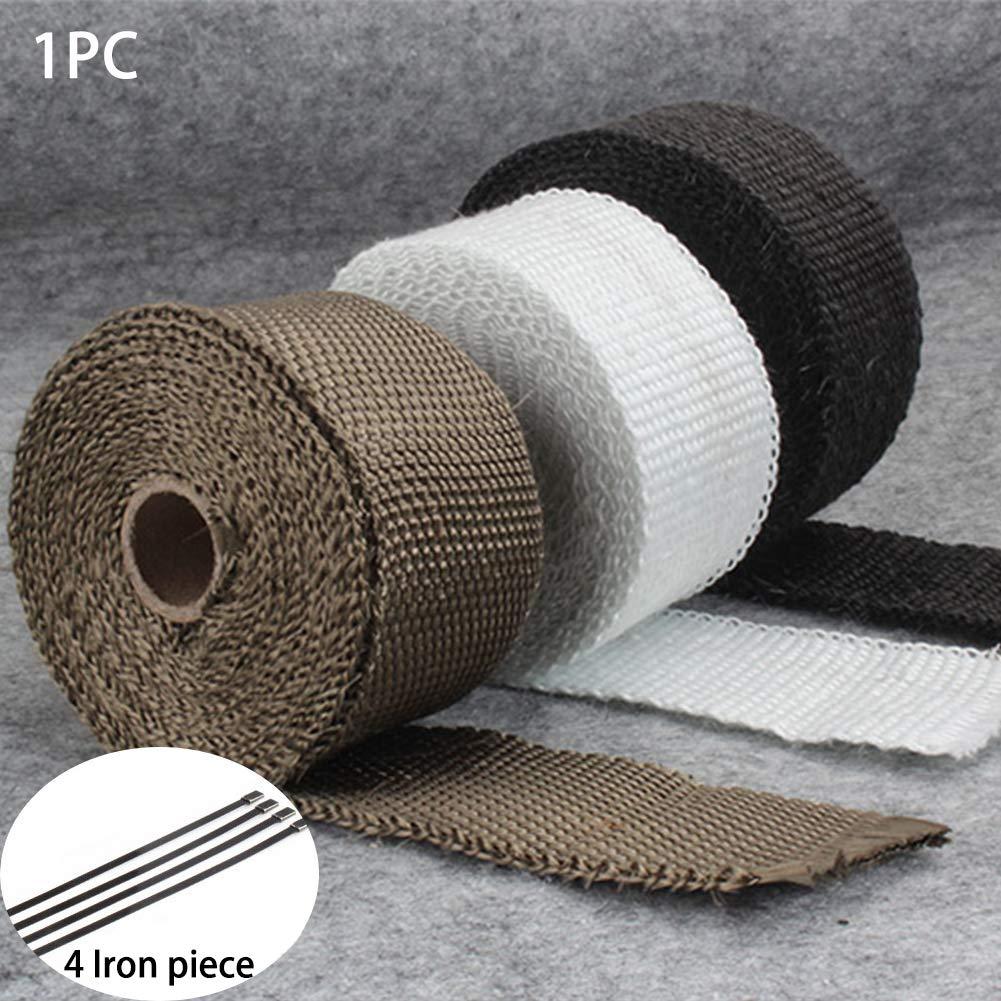 embout de tuyau d/échappement en fibre de verre 5,1 x 127 m Rouleau de papier d/échappement thermique pour moto en fibre de verre avec attaches en acier inoxydable noir