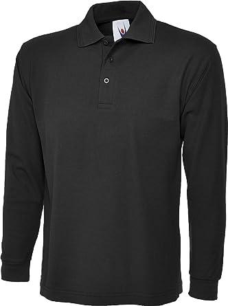 Uneek Uc113 Longsleeve Polo Shirt Black Xs