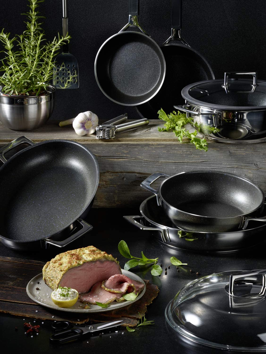 28/Inch /Silver//Black//Blue R/ösle Silence 91517/Serving Pan Stainless Steel with Non-Stick Coating Proresist/