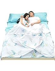 Azarxis Saco de Dormir Saco de Dormir Sábana de Viaje Saco Algodón Ligero Portátil Sencillo Doble