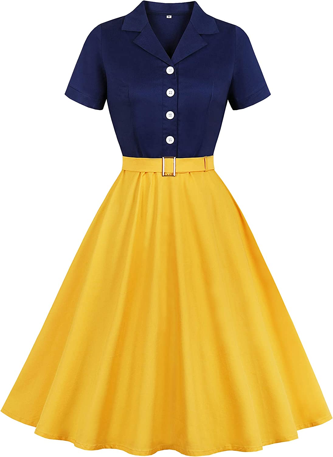 Wellwits Women's Sailor Navy Yellow Halloween Princess Vintage Shirt Dress