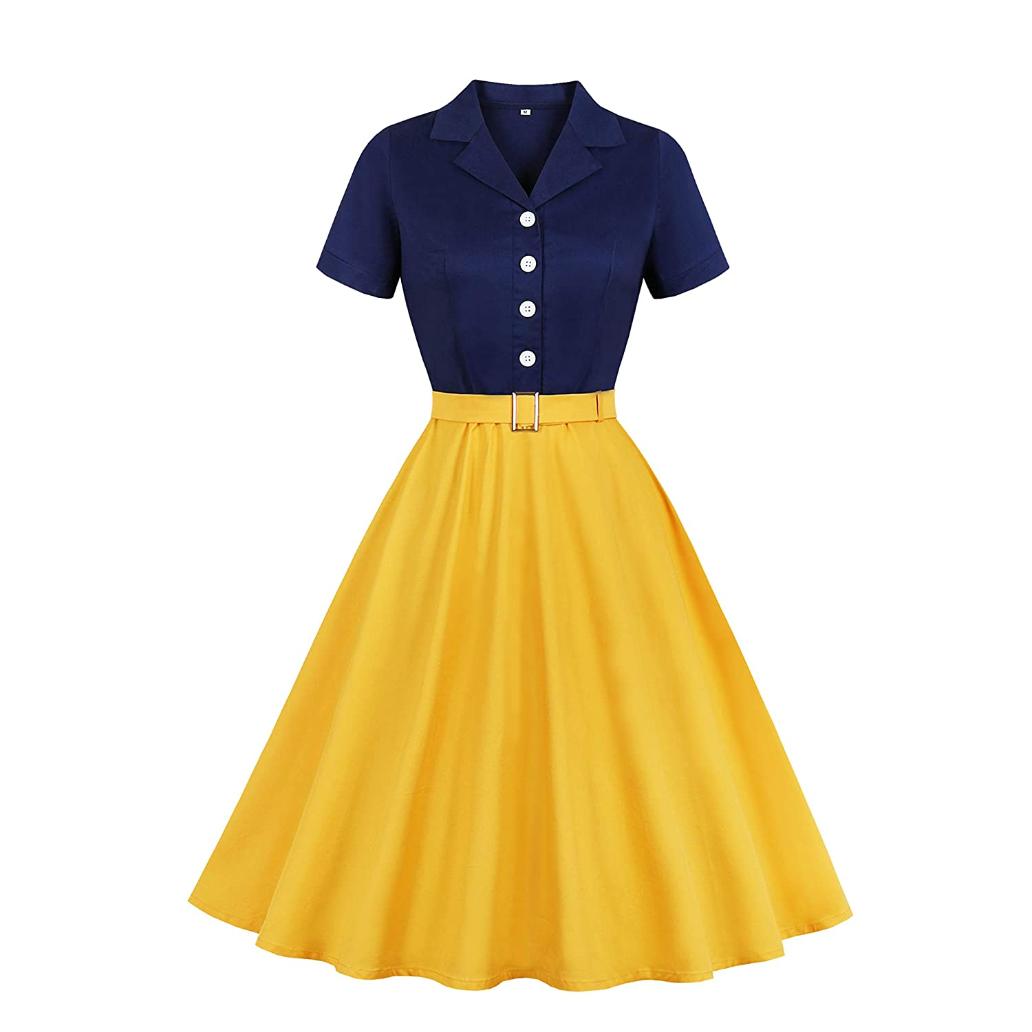 Vintage 50s Dresses: Best 1950s Dress Styles Wellwits Womens Sailor Navy Yellow Halloween Princess Vintage Shirt Dress $22.98 AT vintagedancer.com