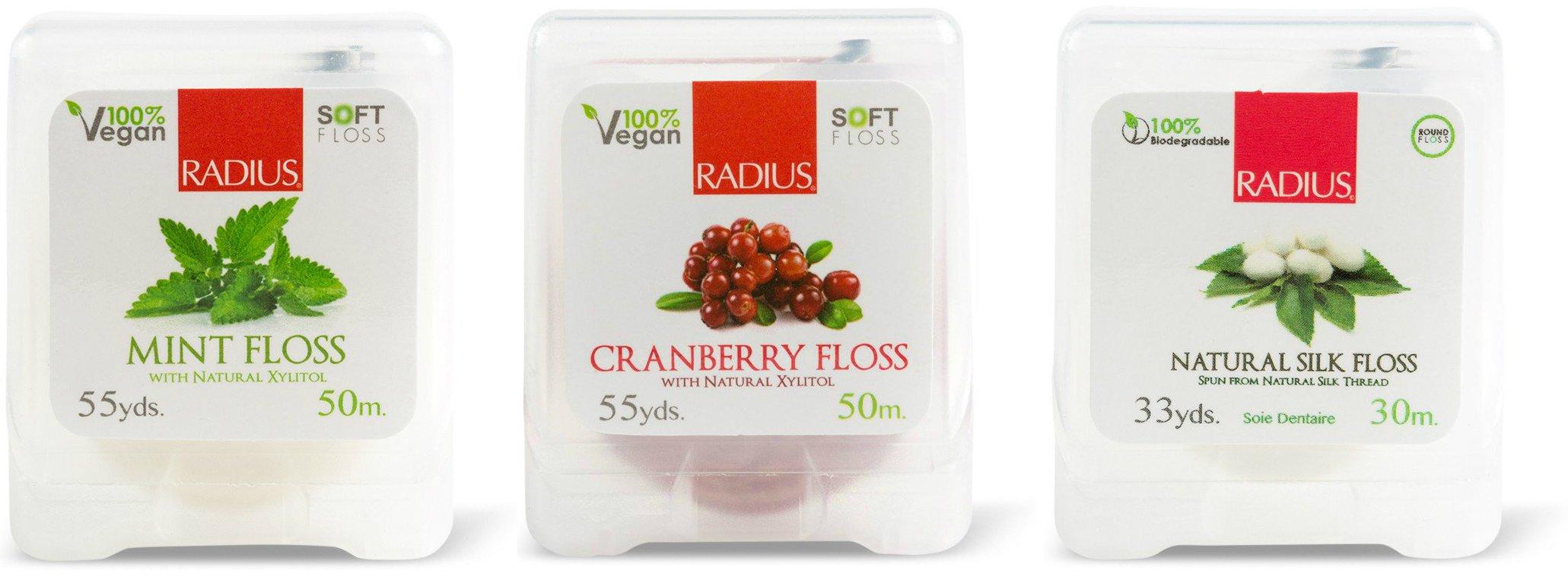 Radius Vegan Xylitol Floss Mint, Vegan Xylitol Floss Cranberry, and Natural Biodegradable Silk Floss Bundle, 55 yds, 55 yds, and 33 yds. each