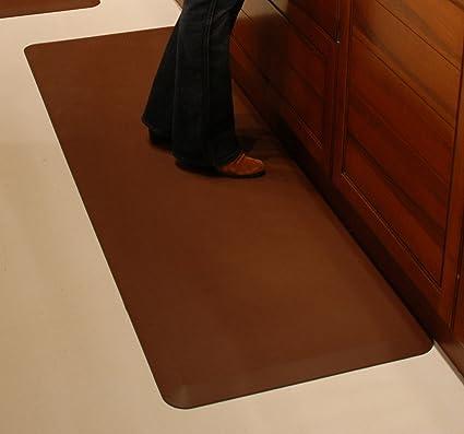 Elegant WellnessMats Original Anti Fatigue Kitchen Mat, 72 Inch By 24 Inch, Brown
