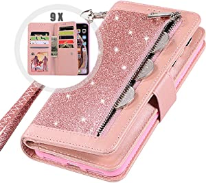 iPhone 6S Plus Wallet Case with Strap for Women,Auker Bling Glitter Leather Trifold 9 Card Holder Flip Magnetic Wallet Purse Case with Zipper Coin/Cash Pocket&Fold Stand for iPhone 6 Plus (Rosegold)