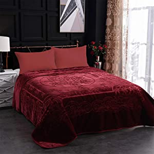 JML Fleece Blanket King Size, Heavy Korean Mink Blanket 85 X 95 Inches- 9 Lbs, Single Ply, Soft and Warm, Thick Raschel Printed Mink Blanket for Autumn,Winter,Bed,Home,Gifts, (Burgundy)