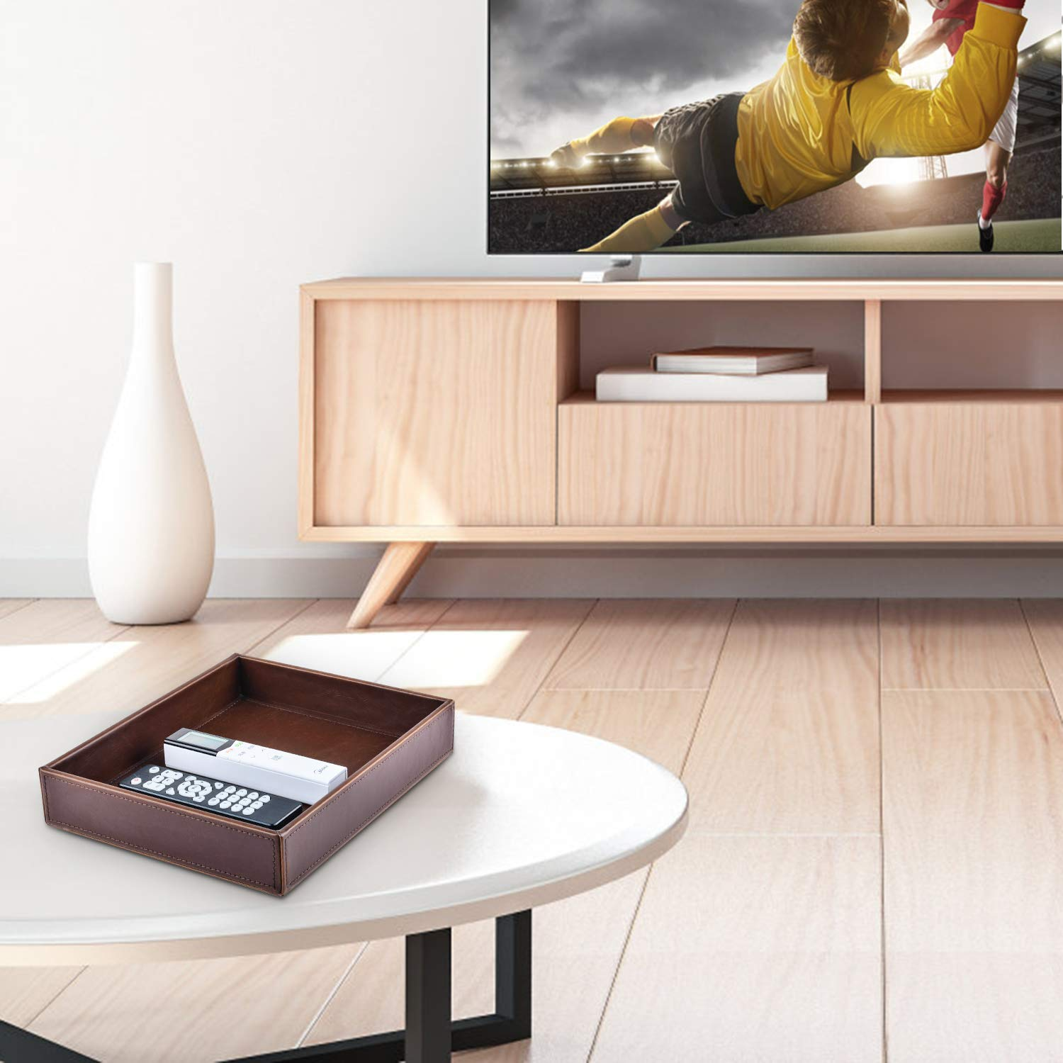 Decor Trends Brown 10.2x8.3 Rectangle Vintage Leather Decorative Office Desktop Storage Catchall Tray,Valet Tray,Nightstand Dresser Key Tray