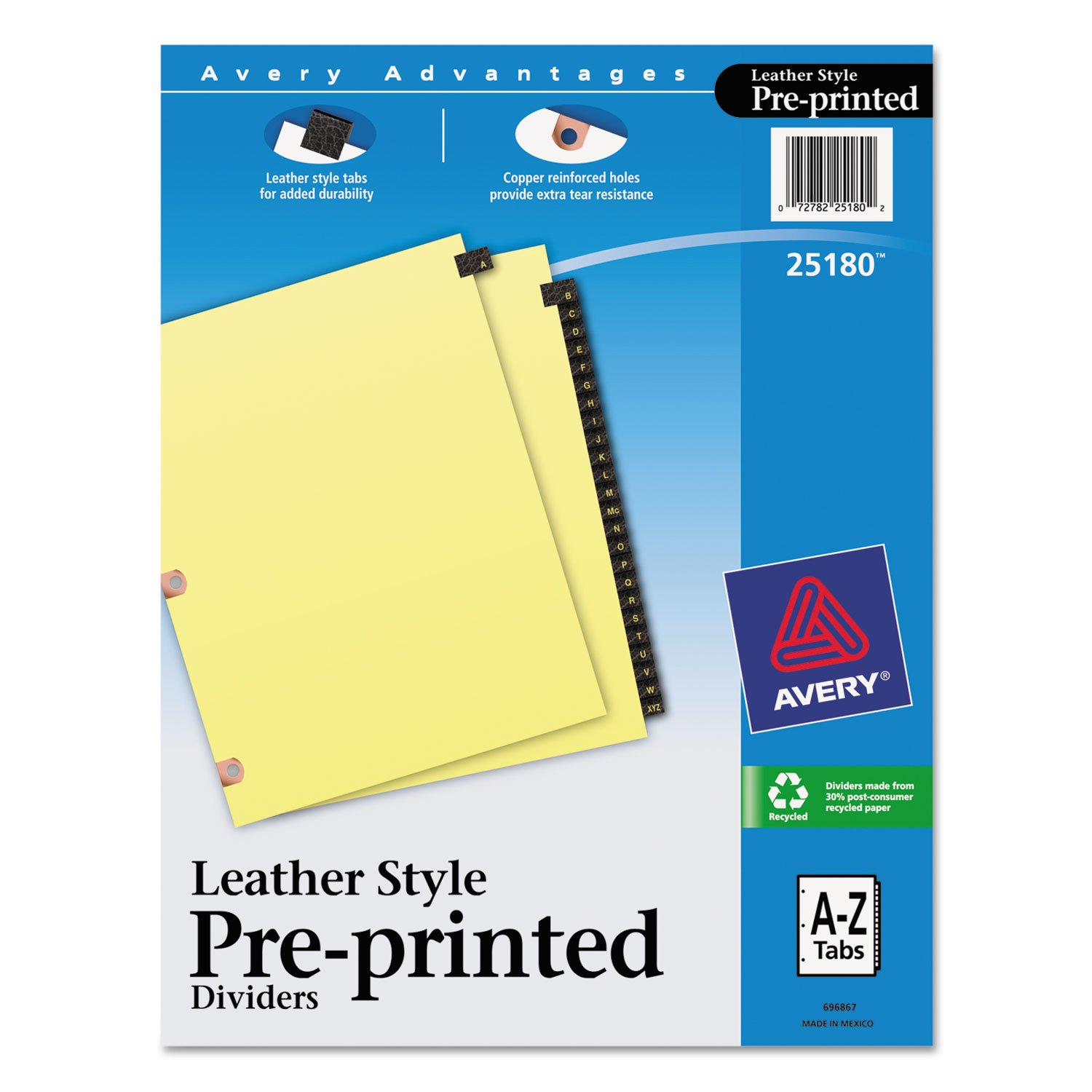 Reinforced Tab Divider, A-Z, 25 Tab, 8-1/2''x11'', Black Leather, 25 Each Per Pack AVE25180