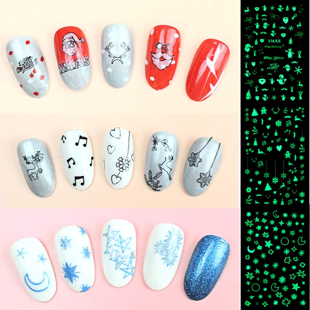 Howaf Luminoso Navidad 3D Nail Art Stickers Calcomanías (10 Hojas), Navidad Papá Noel Reno Copo De Nieve Pegatina uñas Calcomanías autoadherentes Nail Art ...