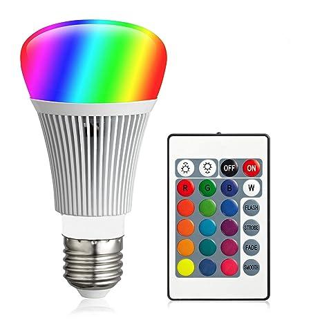 FFTONG Bombilla LED RGB, 10W E27 Bombillas Colores RGBW LED Bombilla Regulable Cambio de Color