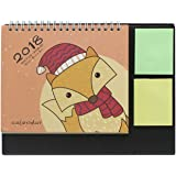 Cute Cartoon Fox 2018 Desk Stand Calendar with Color Sticky Notes Agenda Planner