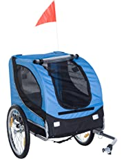 PawHut Pet Bike Trailer Bicycle Dog Cat Travel Carrier Foldable Blue