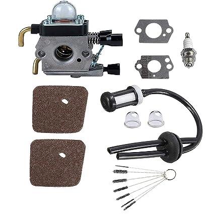Podoy C1Q-S97 Carburetor for Stihl FS55 Trimmer Parts Tune Up Fuel Line Air  Filter Spark Plug FS45 FS38 FS45C FS45L FS46 FS46C FS55C FS55R HL45 FS45