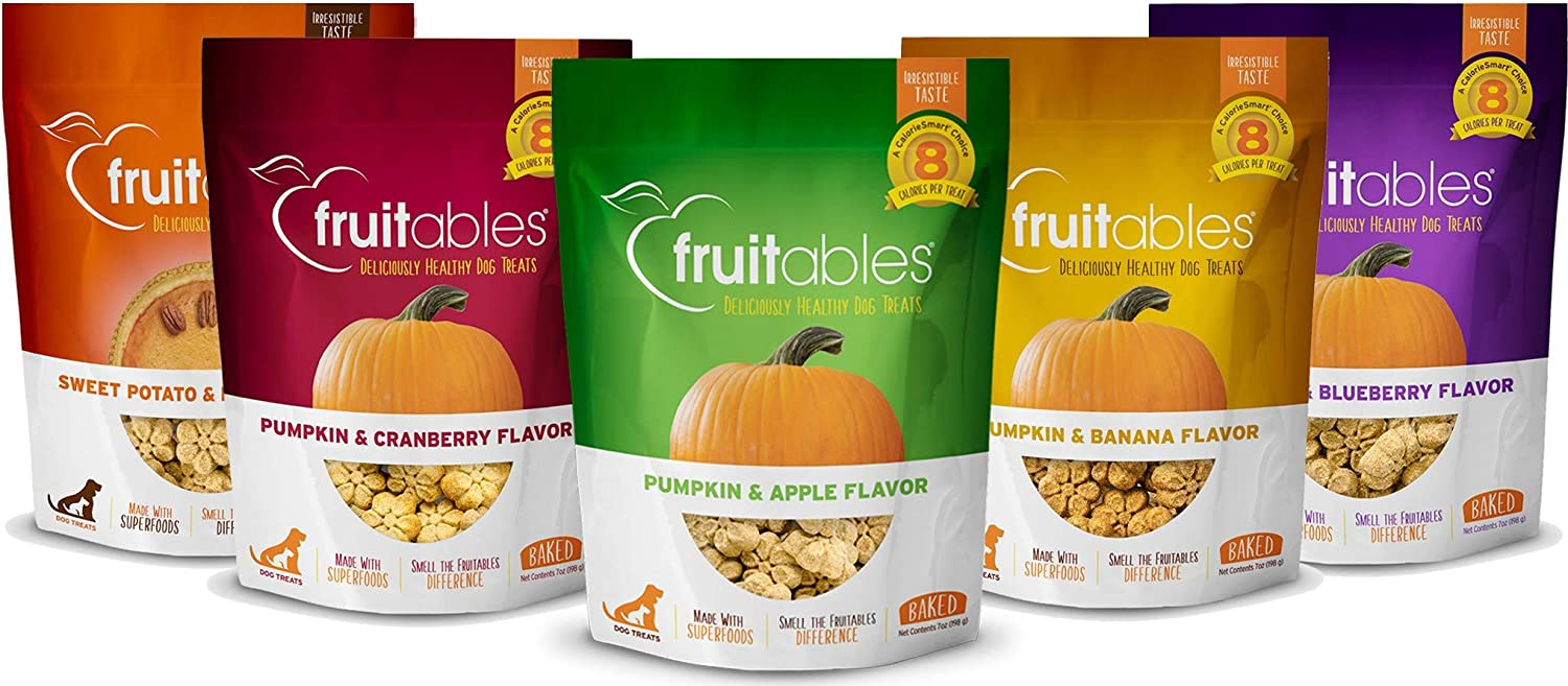 Fruitables All Natural 7 Ounce Vegetarian Pumpkin Baked Crunchy Dog Treats, Variety Pack