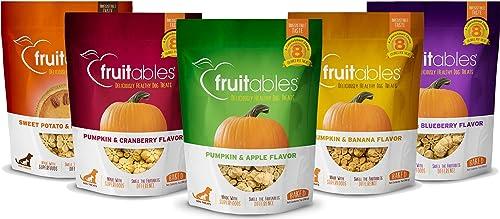 Fruitables All Natural 7 Ounce Vegetarian Pumpkin Baked Crunchy Dog Treats, Variety Pack