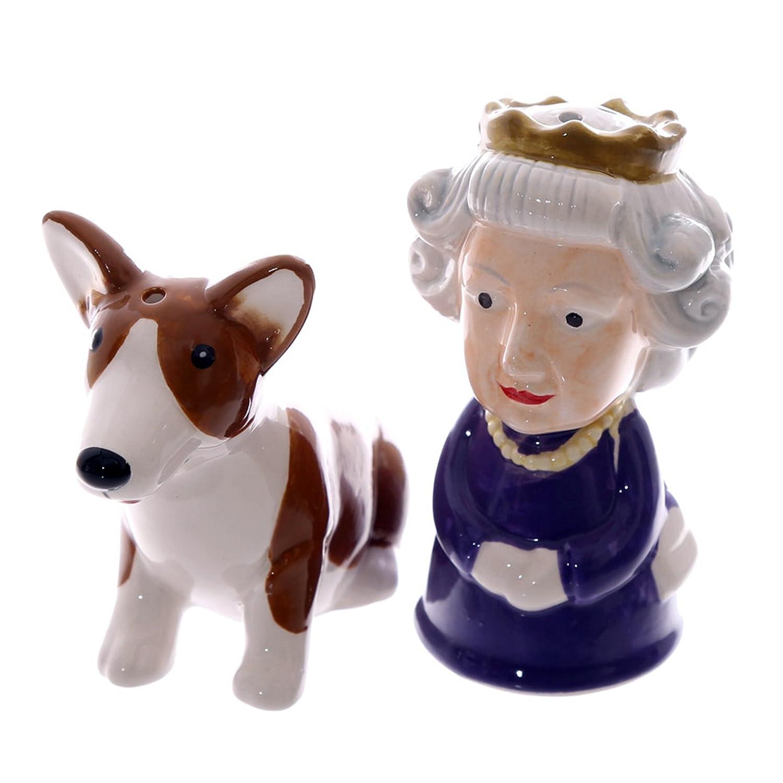 Set sale e pepe Regina Elisabetta e cane cagnolino Corgi Puckator