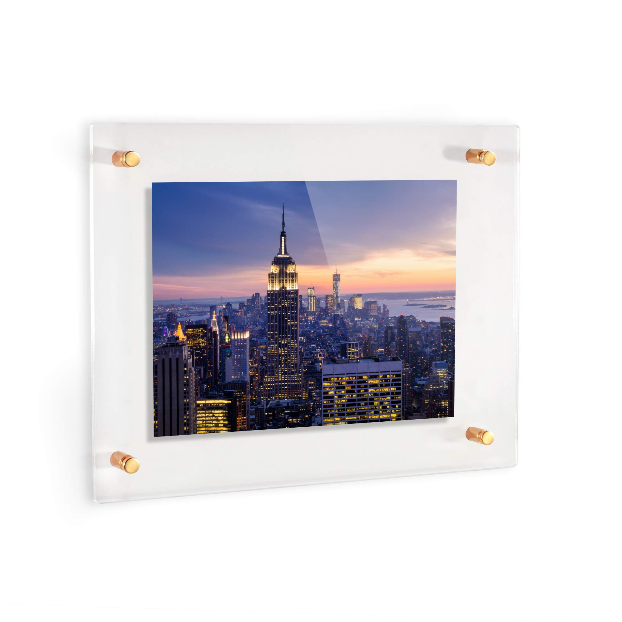 ArtToFrames Floating Acrylic Frame for Pictures Up to 16x20 inches (Full Frame is 20x24) with Gold Standoff Wall Mount Hardware, Acrylic-109-16x20-71 by ArtToFrames (Image #3)