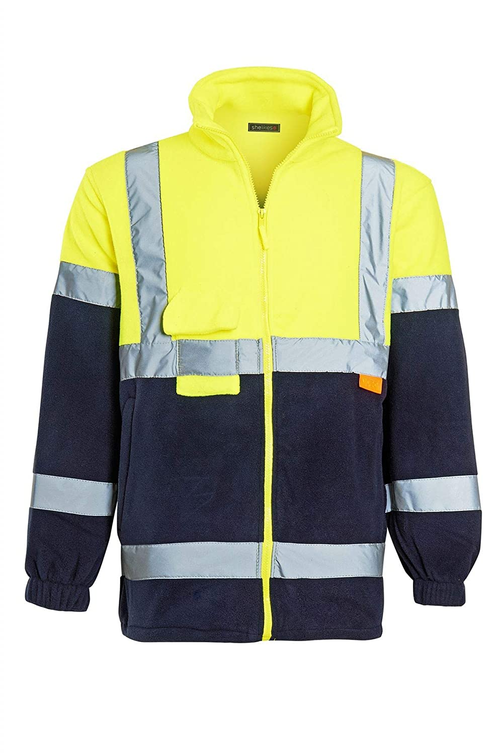 shelikes Mens Hi Vis Fleece Full Zip Warm 2 Side EN471 Reflective Workwear Comfortable Casual Sweat Jacket