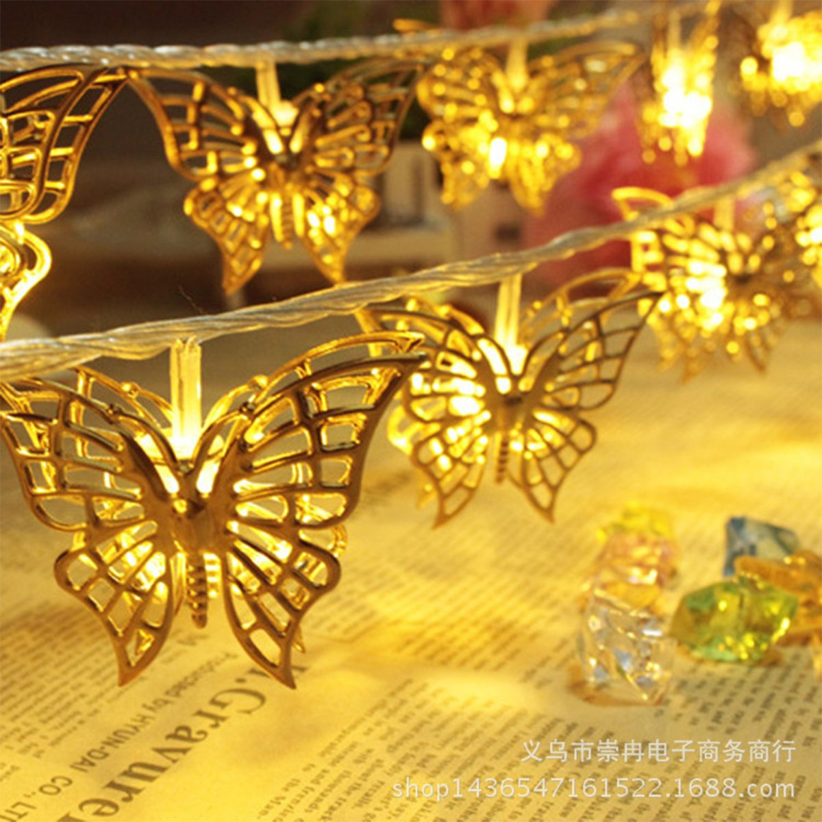 fantastic me 10ft 20 LED Iron Butterfly Fairy String Lights Night Lamp-Battery Powered-Decoration for Home Bedroom Kids Nursery Room Christmas Tree Wedding Party Garden by fantastic me (Image #7)