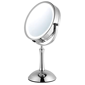 Great Ovente LED 1x/8x Magnifying Makeup Mirror   7.0u0026quot; Lighted Table Vanity  Mirror