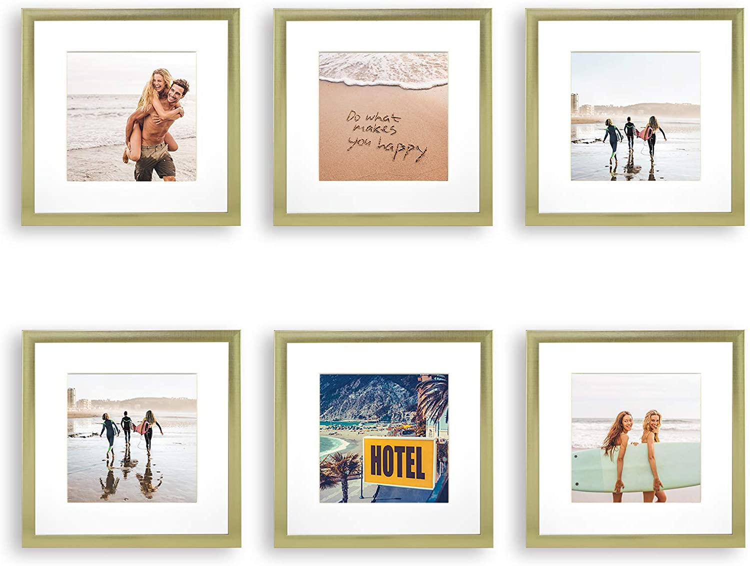 Sheffield Home Decor Collection- 6 Piece Picture Frame Set, Gallery Set, 8x8in, Matted to 4x4in (Gold)