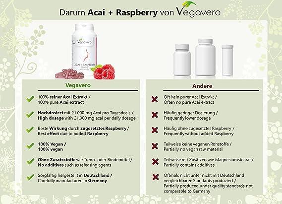 Acai + Cetona de Frambuesa Vegavero® | Mejora el metabolismo – Antioxidante – Energético | 90 Cápsulas | Alta Dosis | 100% Vegano