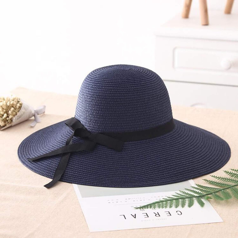 Summer Straw hat Women Big Wide Brim Sun hat Foldable Sun Block UV Protection Panama hat