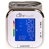 "Care Touch Fully Automatic Wrist Blood Pressure Cuff Monitor - Platinum Series, 5.5"" - 8.5"" Cuff Size- Batteries…"