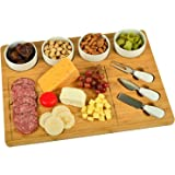 Picnic at Ascot Bamboo Cutting Board for Cheese & Charcuterie with 4 Ceramic Bowls & Knife Set- Designed & Quality Checked in The USA