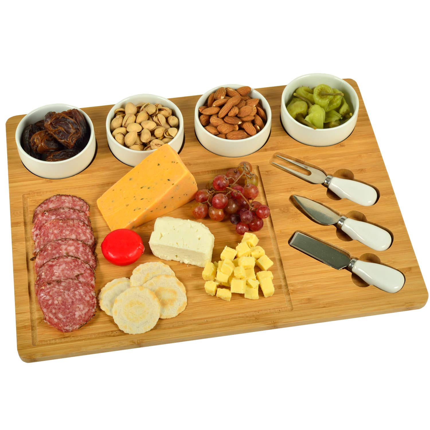 Picnic at Ascot Bamboo Large Cheese/Charcuterie Board with 4 Ceramic Bowls & 3 Stainless Steel Cheese Tools - 17'' x 13''- Designed & Quality Checked in the USA