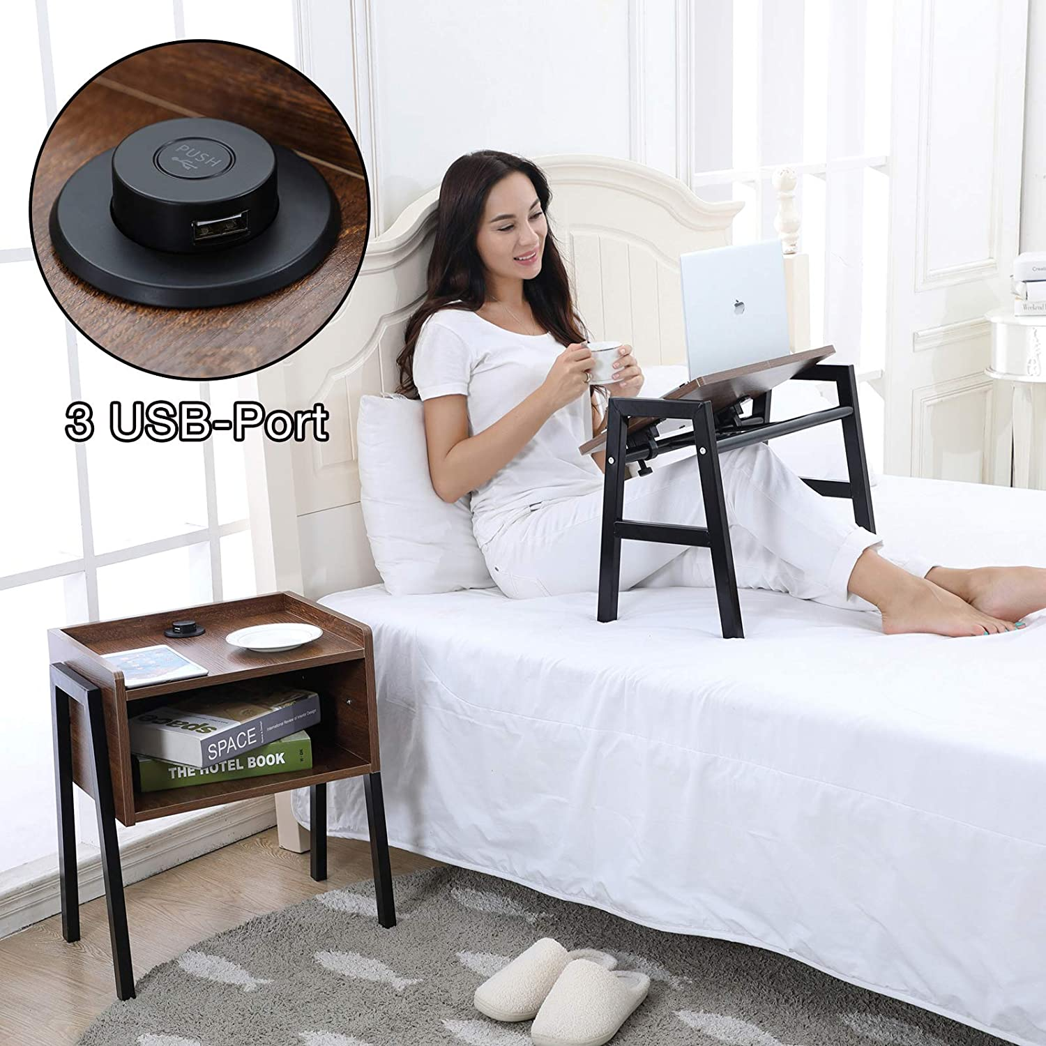 Emall Life Bedside Table with Power Outlet 3 USB-Port Set of 2 Functional Overbed Table Angle-Adjustable Wooden Nightstand