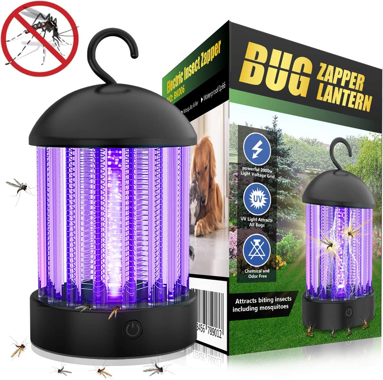 Portable Electronic Indoor Insect Killer, Powerful Bug Zapper with 10 Hours Working Time and Mosquito Killer Safety 3-in-1 UV Light 360 Degree Outdoor Mosquito Trap for Home, Garden, Camping,Fishing