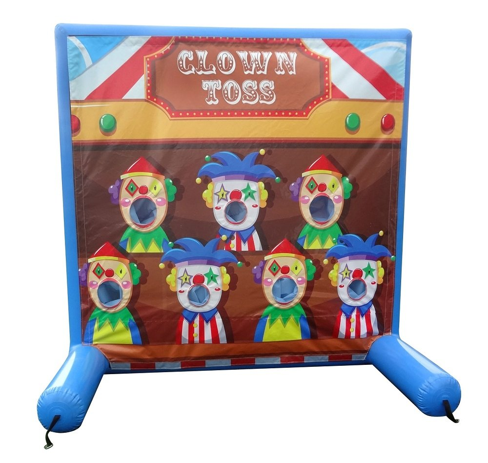 Clown Toss Inflatable Air Frame Game with Panel, Hand Pump, and Stakes Included for Carnivals, Schools, Churches, Birthday Parties, and Other Events
