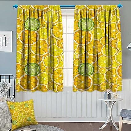 Amazon Com Yellow Decor Thermal Insulating Blackout Curtain Lemon