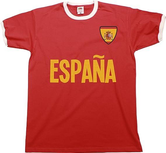 buzz shirts Mens Espana Spain Name Ringer Retro T-Shirt Camiseta para Hombre Sports Football Patriotic: Amazon.es: Ropa y accesorios