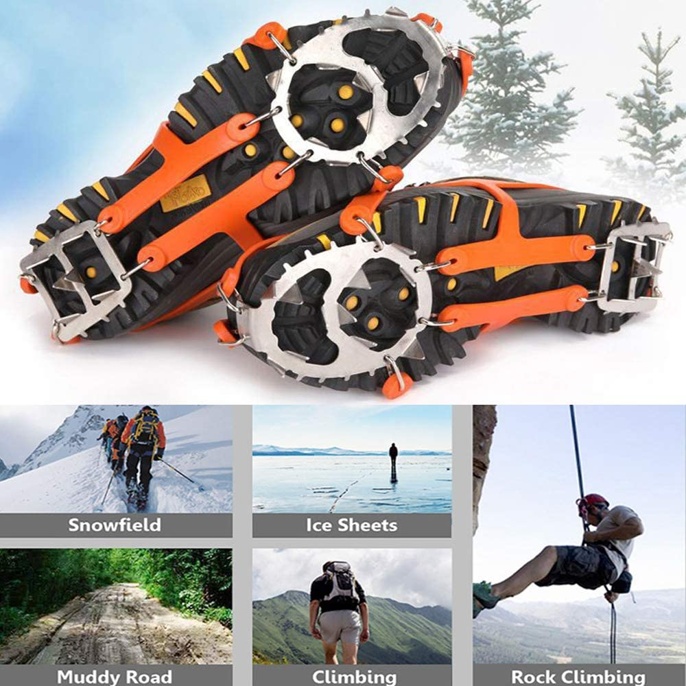 wiusun Ice Cleats Spikes Stainless Steel Spikes Durable Silicone Climbing Snow Shoe crampons for Hiking Boots Shoes Walk Traction