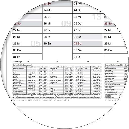 grau mit 4-ER FABER-CASTELL MARKER gerollt DIN A2 59,4 X 42,0 CM MIT FERIENANGABEN abwischbar WANDKALENDER//JAHRESKALENDER 2020