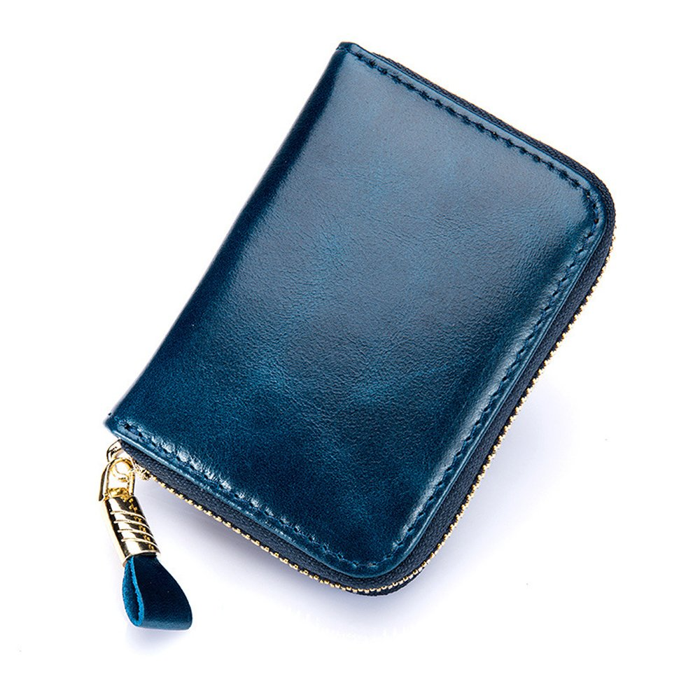 Men Women Card Wallet 12 Slots RFID Blocking Leather Zipper Coin Holder Purse