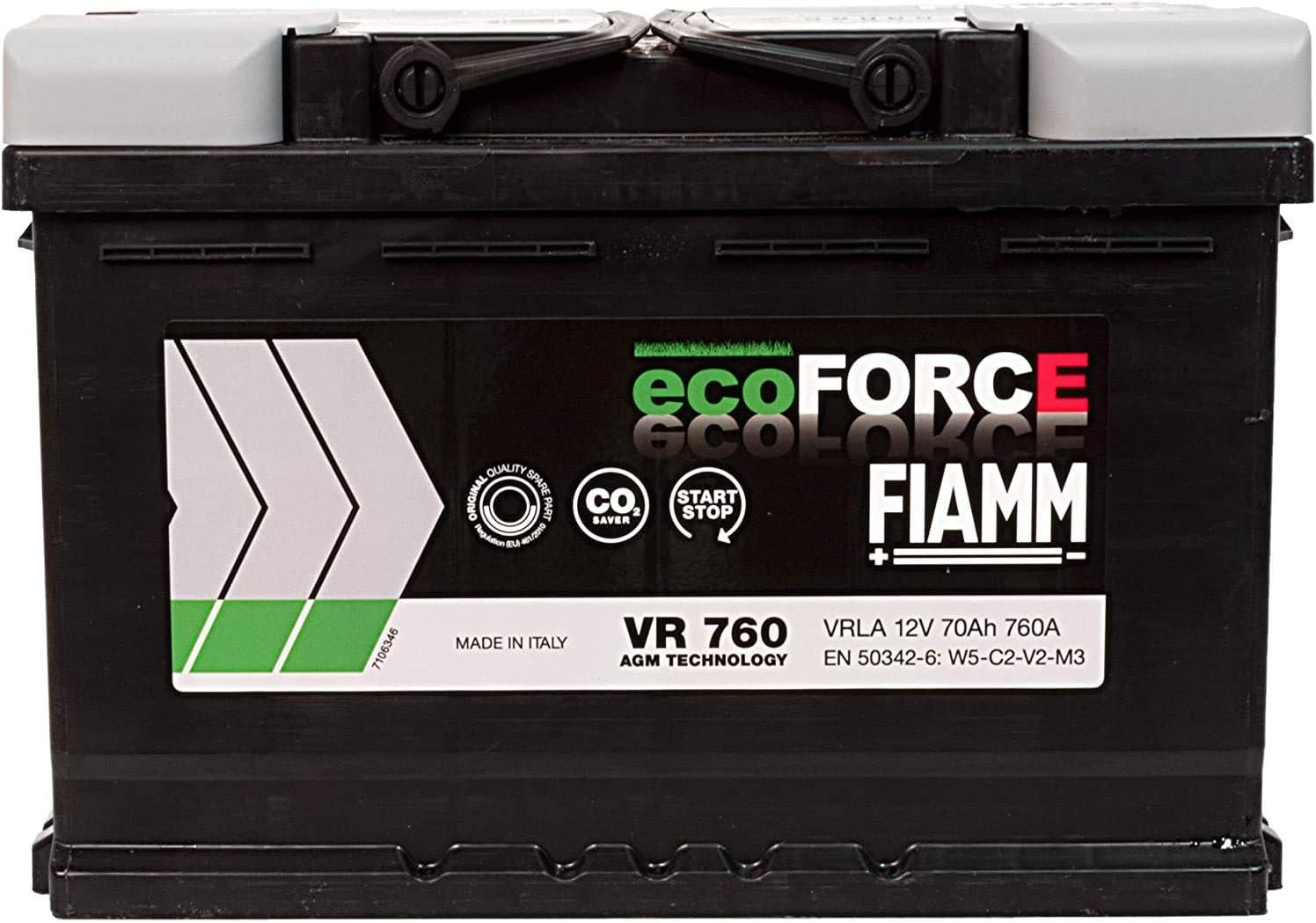 Dettagli su BATTERIA AUTO FIAMM VR760 ecoFORCE AGM START/&STOP 70Ah 760A 278x175x190